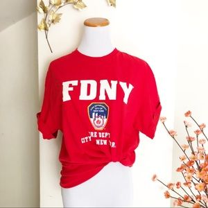 Vintage | FDNY red tee classic size large nyc
